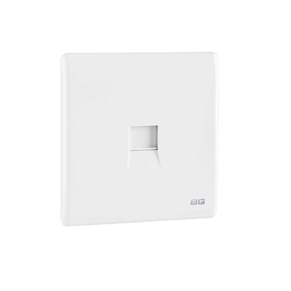 白色纖薄1位RJ11電話插座,隱藏式固定螺絲卡式面板單蘇單位單掣電視插座蘇底掣面蘇制面板入牆TV插座面板英式86型港式英規面板機電署認可BS安全合格報告証書(PCWHRJ111)