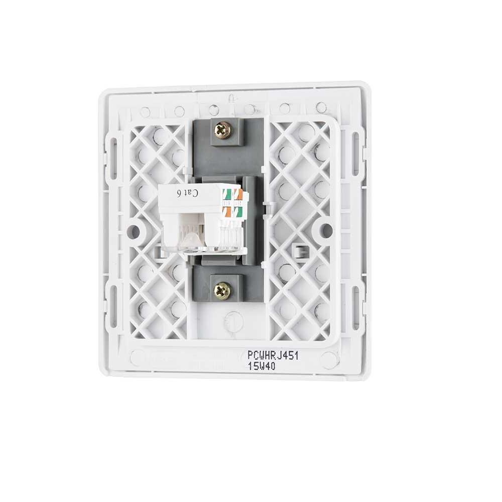 白色纖薄1位RJ45數據(網絡)插座,隱藏式固定螺絲卡式面板單蘇單位單掣電視插座蘇底掣面蘇制面板入牆TV插座面板英式86型港式英規面板機電署認可BS安全合格報告証書(PCWHRJ451)