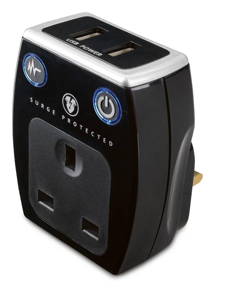 黑色2位USB防雷充電器插蘇,USB插座(1AC+2USB)共享2.1A,USB外置萬能插頭插座高質防火塑料安全耐用機電署認可BS1363-2安全標準英規13A插孔帶保護活塞(SRGAUSBPB2)