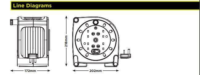 15米電線捲軸式拖轆4X13A插座,易於收納堅固耐用具有集成開關熱切方便收藏高質防火塑料安全耐用可靠拖板排蘇排插帶15米電線機電工程署認可BS1363-2安全標準4位插座拖轆(HMU15134SL)