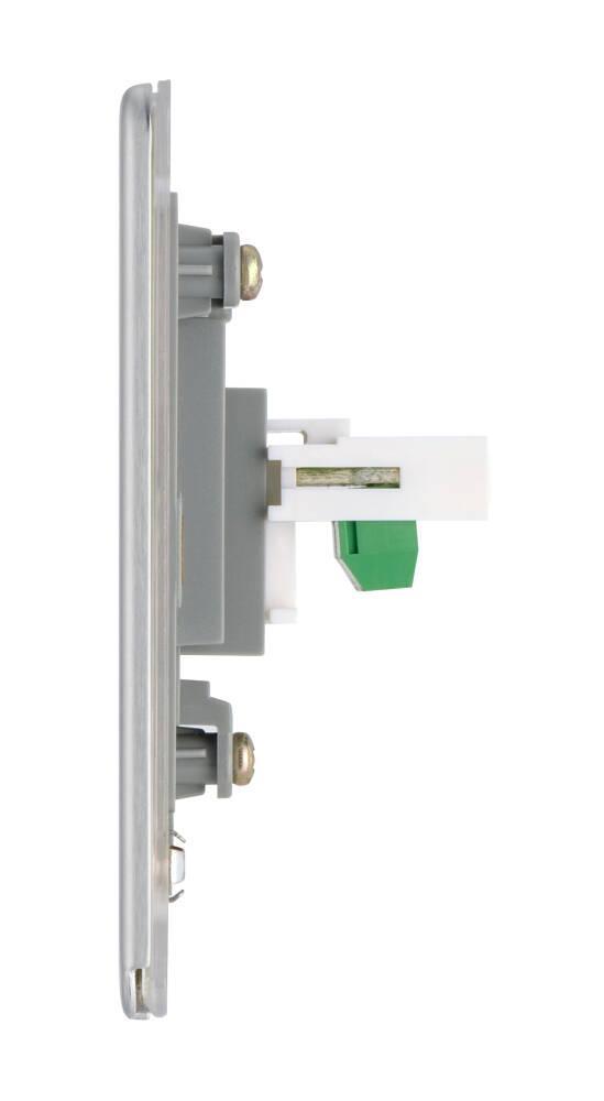 平鋼拉絲1位RJ11電話插座,隱藏式固定螺絲卡式面板單蘇單位單掣電視插座蘇底掣面蘇制面板入牆TV插座面板英式86型港式英規面板機電署認可BS安全合格報告証書(FBSRJ111)