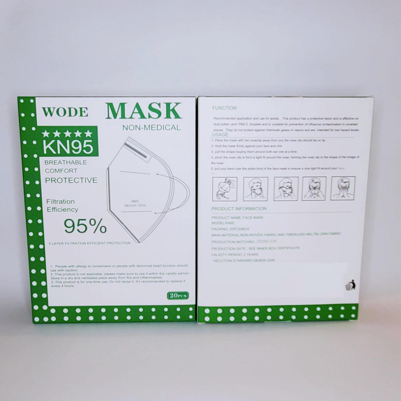 WODE KN95 3D 5-Layer Ear-hook Mask, Particulate Respirator GB2626-2006 Standard 20PCS/Box(WODE-KN95)