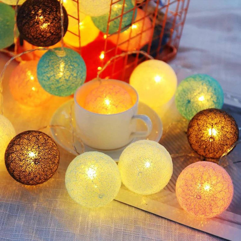 10LED棉線球1.5米長USB裝飾燈串,生日聖誕萬聖節佈置裝飾美少女兒童房間客廳浪漫浴室家居門市飾櫃燈串星星圓球波波LED燈泡節日氣氛USB供電安全方便熱賣(ULS-BALL-COTTON10U-C12)