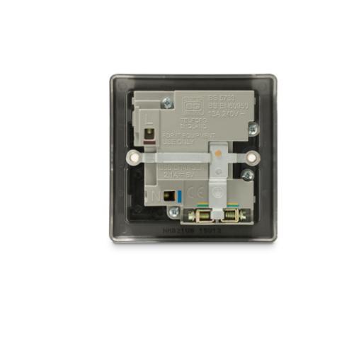 BG - 2USB 2.1A單位有掣13A插座/蘇底-暗亞黑色黑插 (型號 : NMB21U2B)